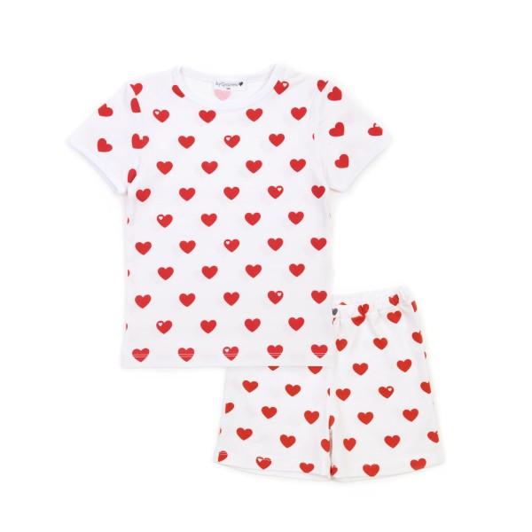 Kinderschlafanzug Herzen - kurz - Rot
