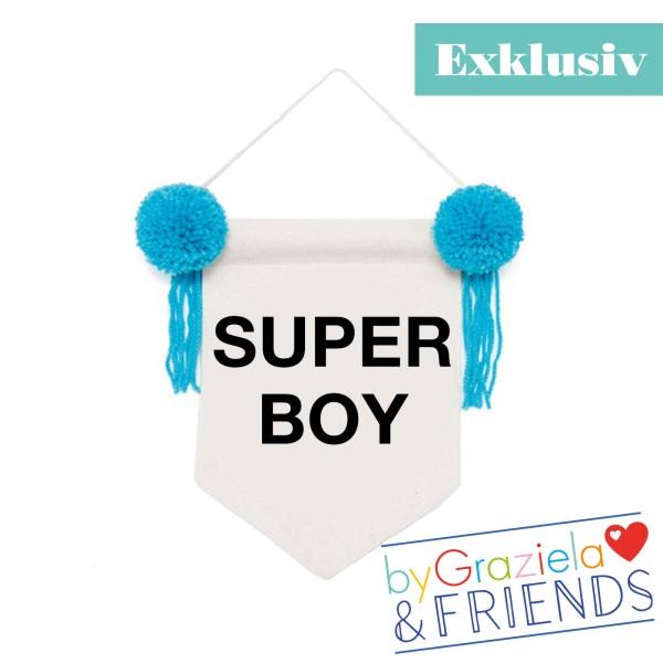 Wimpel Banner Super Boy / Türkis