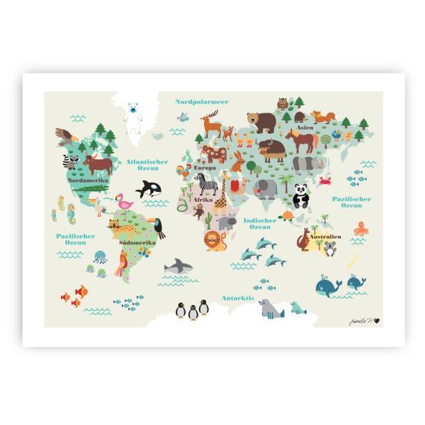Weltkarte Poster / Mit Beschriftungen