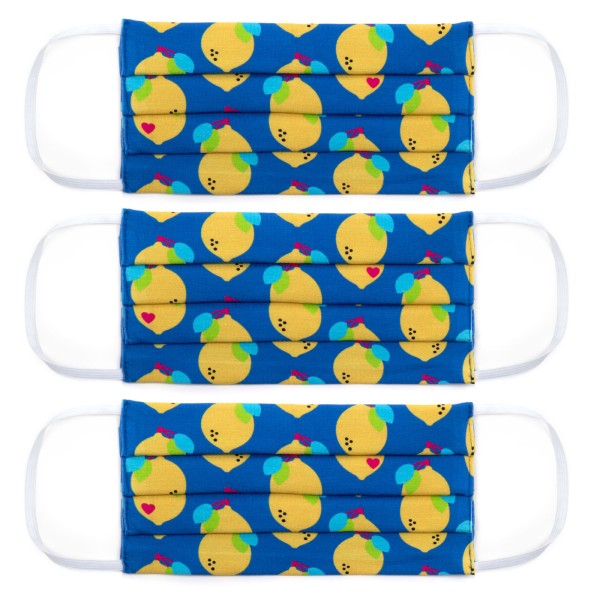 Erwachsene Masken 3-Set / Jersey Zitronen Jersey