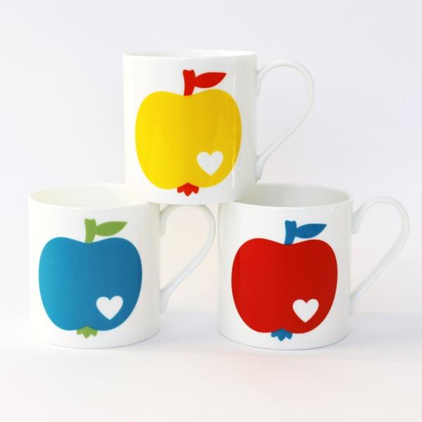 Porzellanbecher Set Apfel / 3 Becher