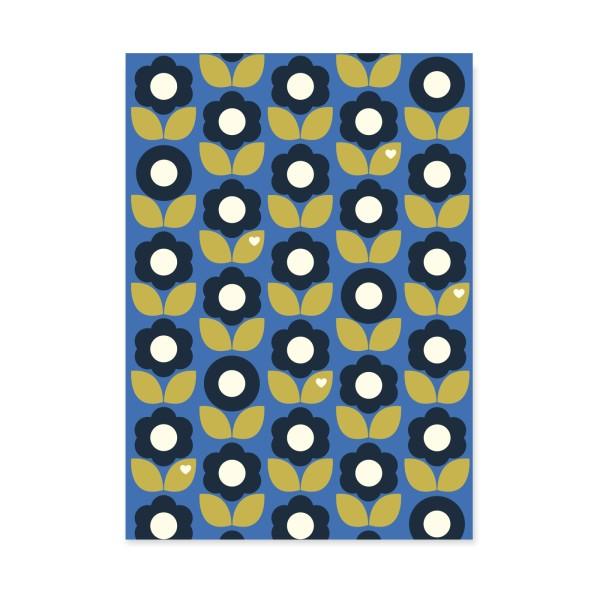 Postkarte Blumenliebe Blau