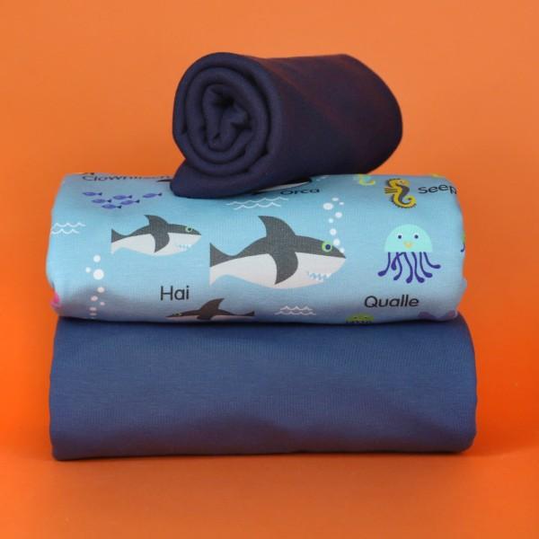 Stoffpaket Meerestiere - Blau