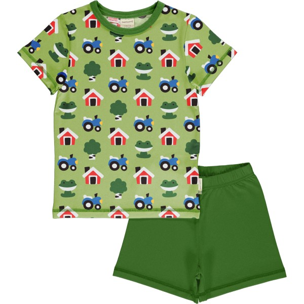 Kurzer Schlafanzug / Bauernhof grün