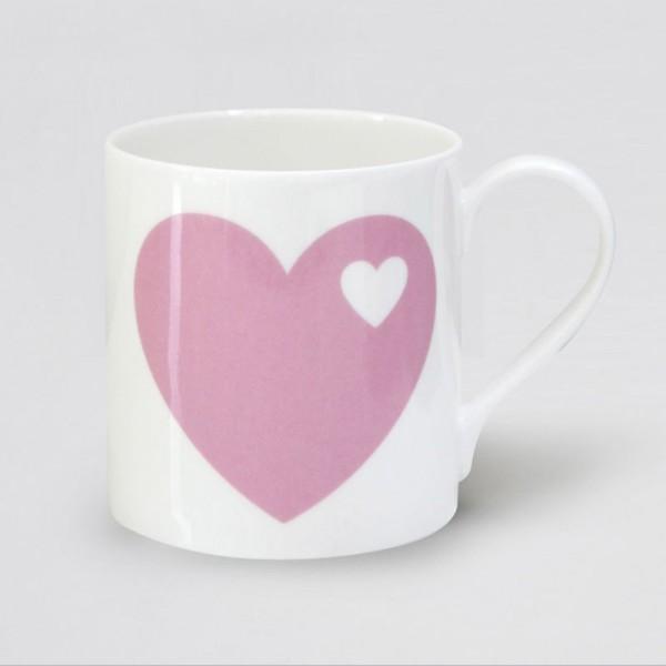 Porzellanbecher Herz / Rosa