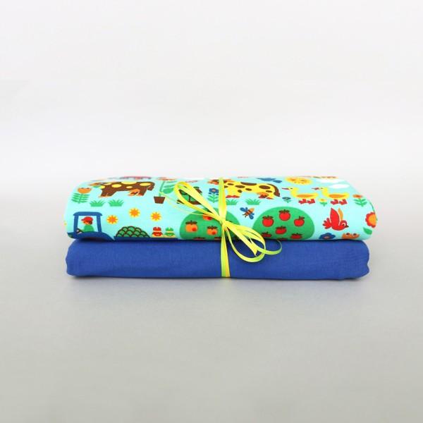 Stoffpaket / Bauernhof Jersey mint / uni blau