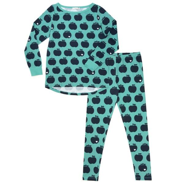 Mama Schlafanzug Apfel / mint dunkelblau