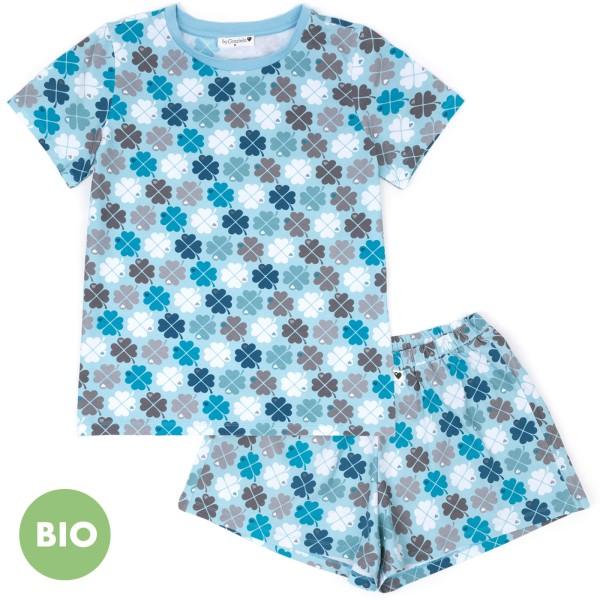 Mama Schlafanzug Kleeblatt - kurz / Blau