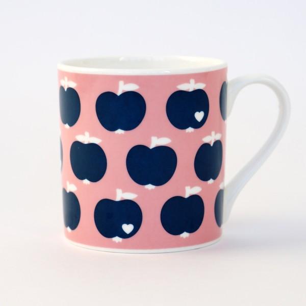 Porzellanbecher / Äpfel rosa