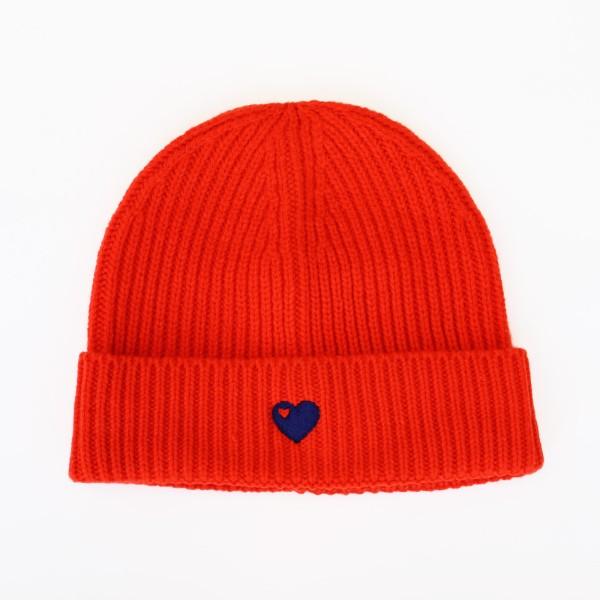 Mütze mit Herz / Rot