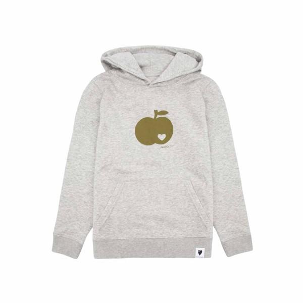 Kinder Kapuzen-Sweatshirt Grau meliert / Apfel