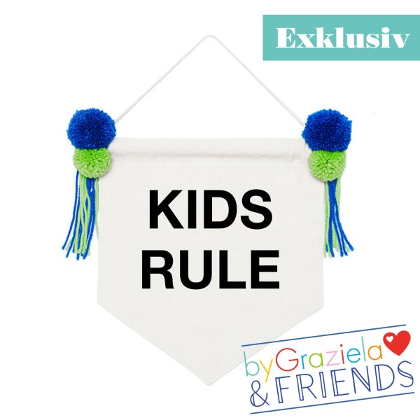 Wimpel Banner Kids rule / Grün-Blau