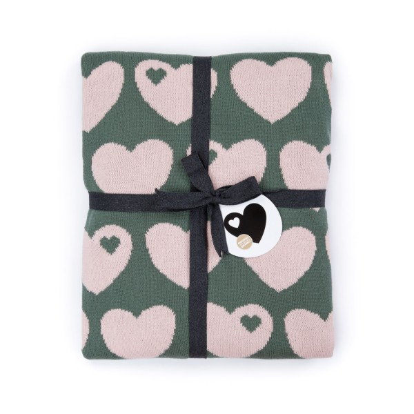 Strickdecke Herz / grün rosa