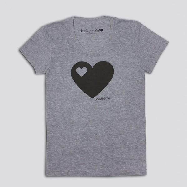 Damen Design T-Shirt Herzen vor Grau