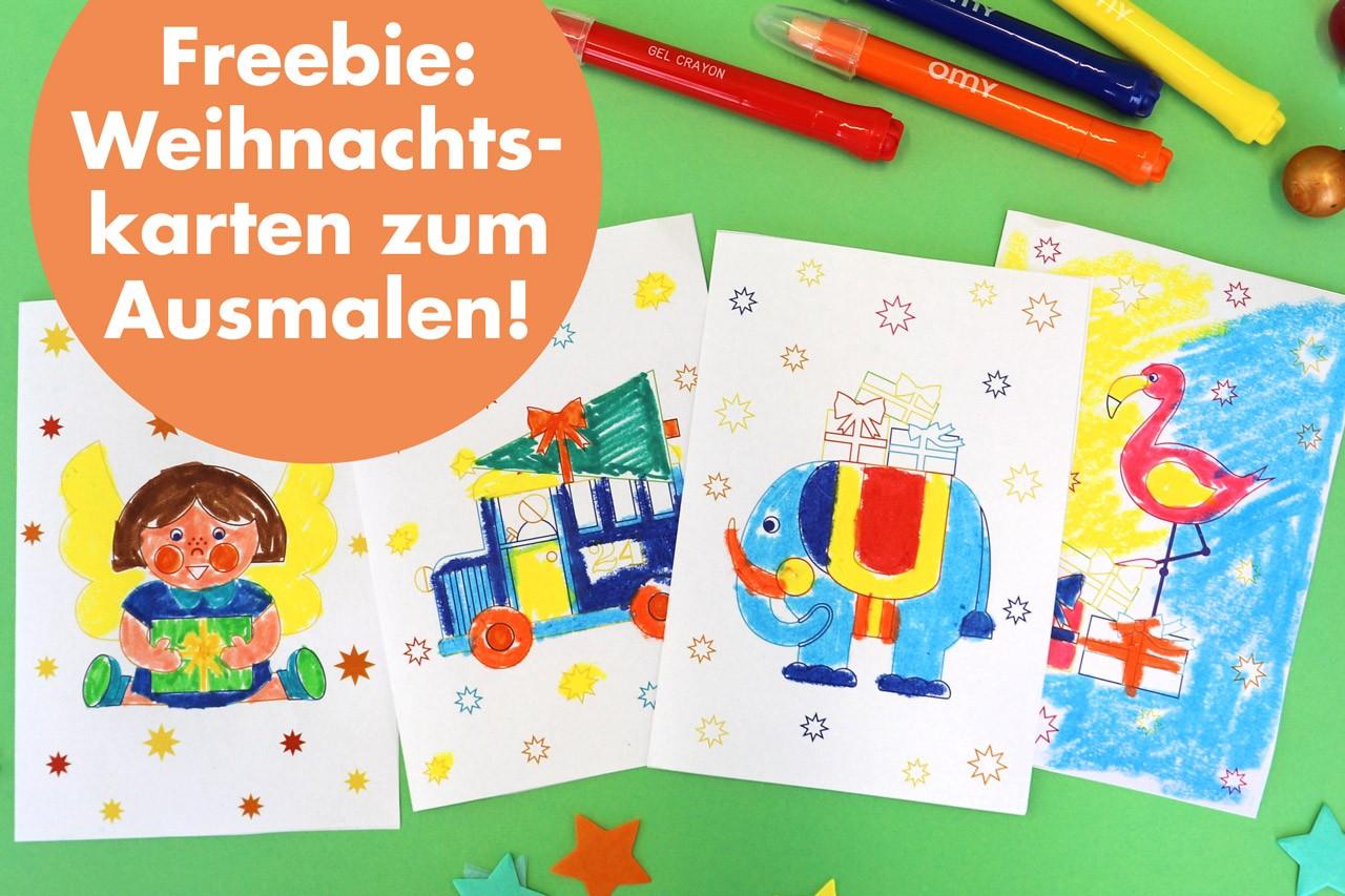 FREEBIE: Ausmal-Weihnachtskarten zum Downloaden