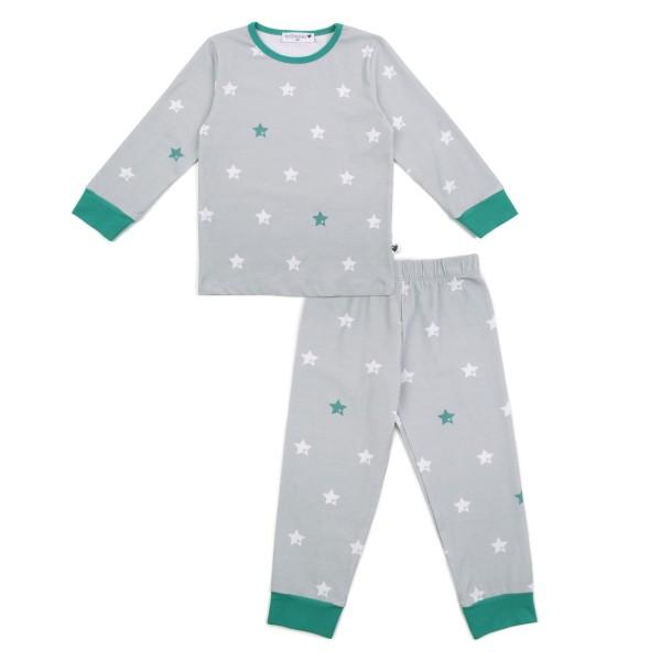 Kinderschlafanzug Sterne / Grau