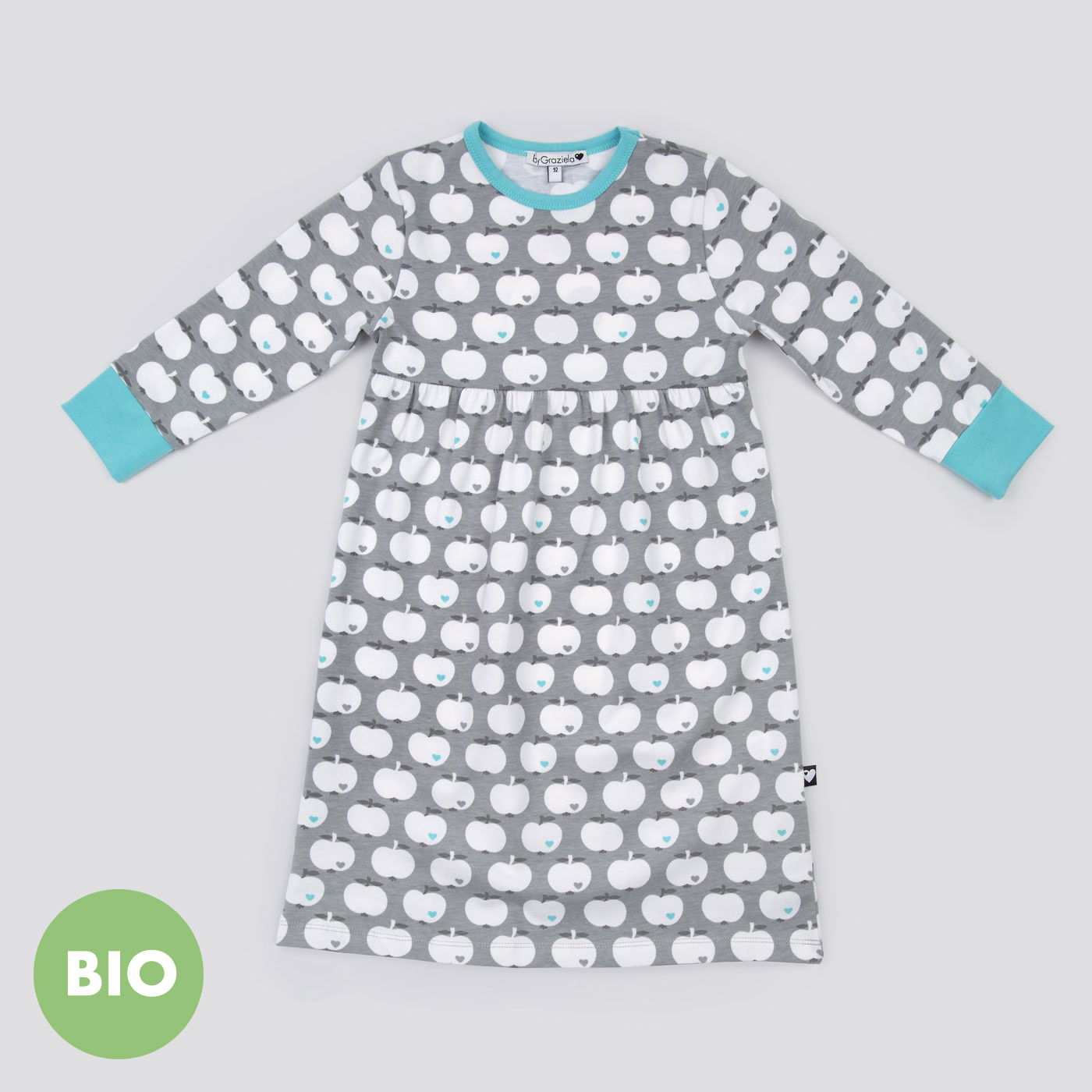 nachthemd apfel grau mint bis 30 euro f r kinder geschenke bygraziela. Black Bedroom Furniture Sets. Home Design Ideas