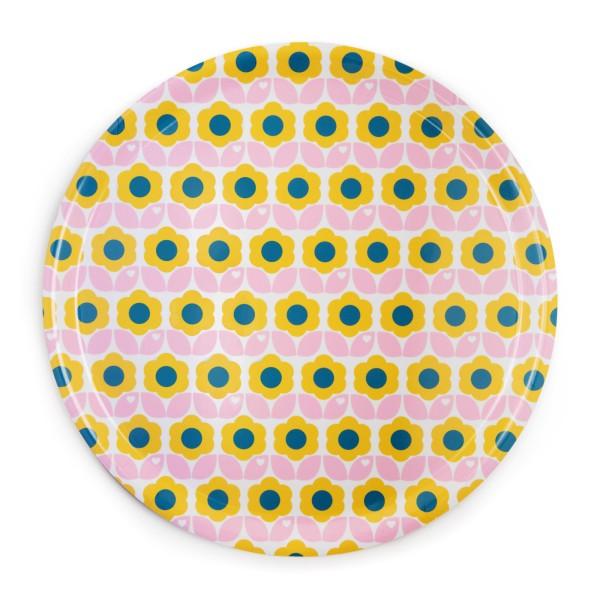 Tablett / Blumen Rosa / 38cm
