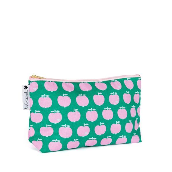 Apfel Kulturtasche / Medium Grün-Pink