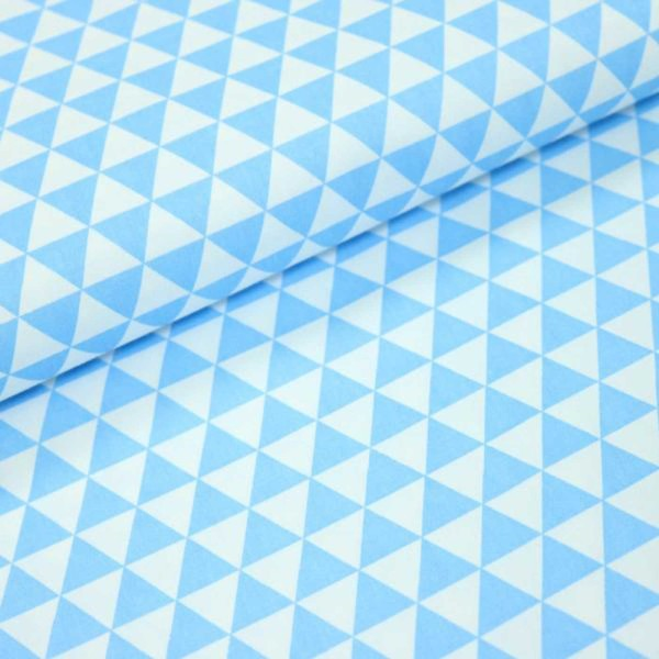 Kombi-Baumwollstoff / Dreiecke hellblau