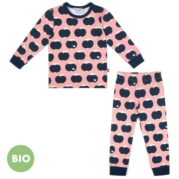 Kinderschlafanzug Apfel / Altrosa