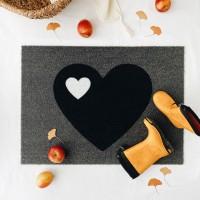 Fußmatte Herz / Schwarz