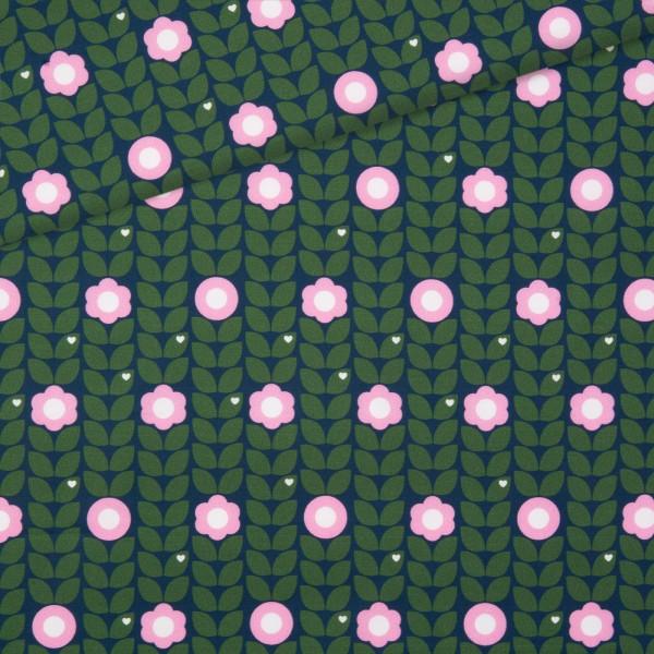 Baumwollstoff Blumenliebe - Grün