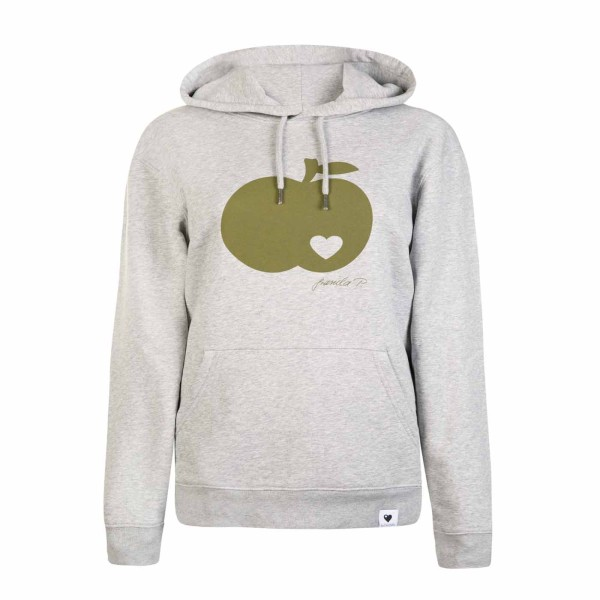 Kapuzen-Sweatshirt Grau meliert / Apfel