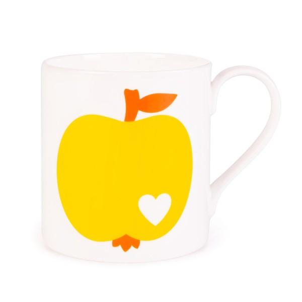 Porzellanbecher Apfel / Gelb