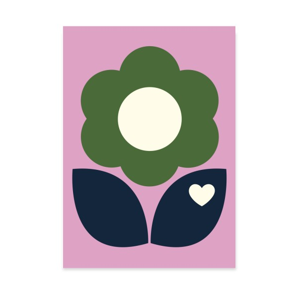 Postkarte Blumenliebe Pink