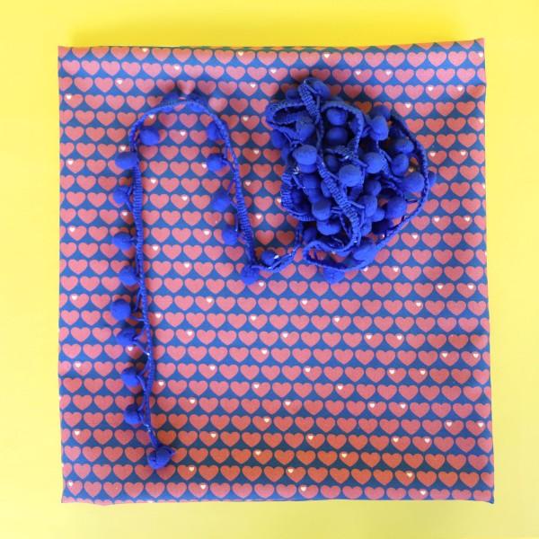 Herzen Baumwolle Kissenpaket Rosa / Royalblau