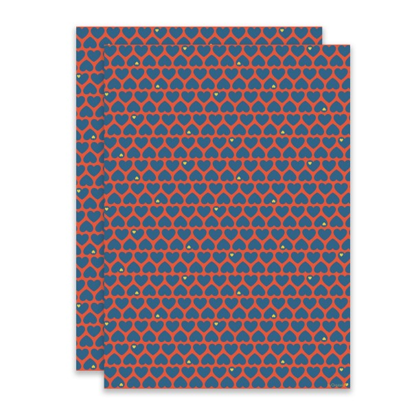 Herzen Geschenkpapier blau/rot
