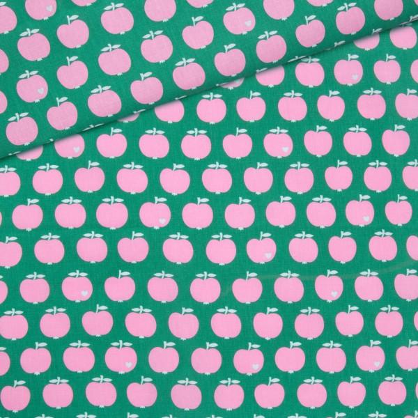 Baumwollstoff Apfel / Grün