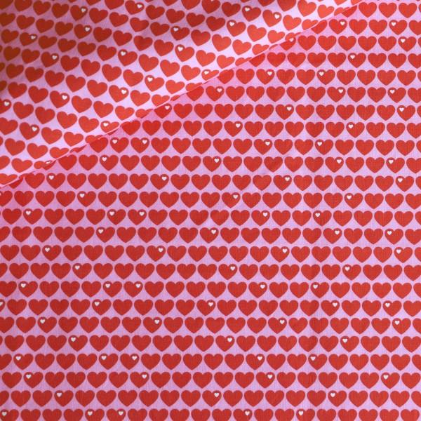 Baumwollstoff Herzen - Pink