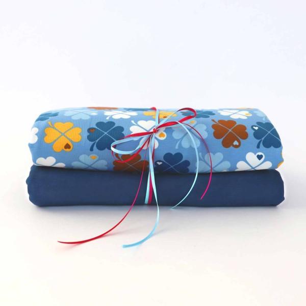 Stoffpaket Klee Blau Braun mit Jeansblau