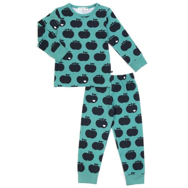 Kinderschlafanzug Apfel / mint dunkelblau
