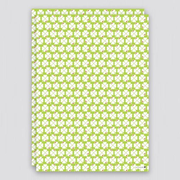 Geschenkpapier Kleeblatt / Grün