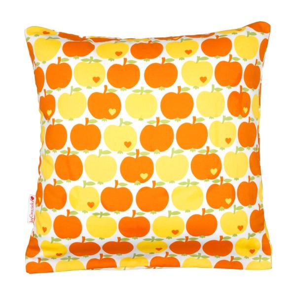 Wende-Kissenbezug Apfel Gelb / Gelbe Streifen