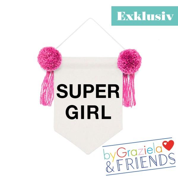 Wimpel Banner Super Girl / Pink