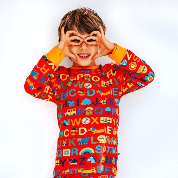 Kinderschlafanzug ABC Oberteil / Rot B-Ware