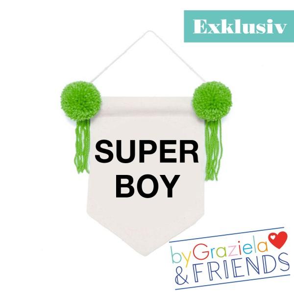 Wimpel Banner Super Boy / Grün