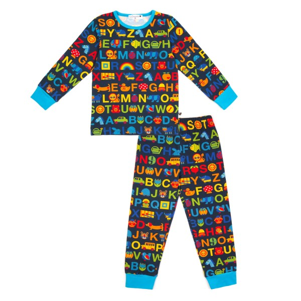 Kinderschlafanzug ABC / Blau