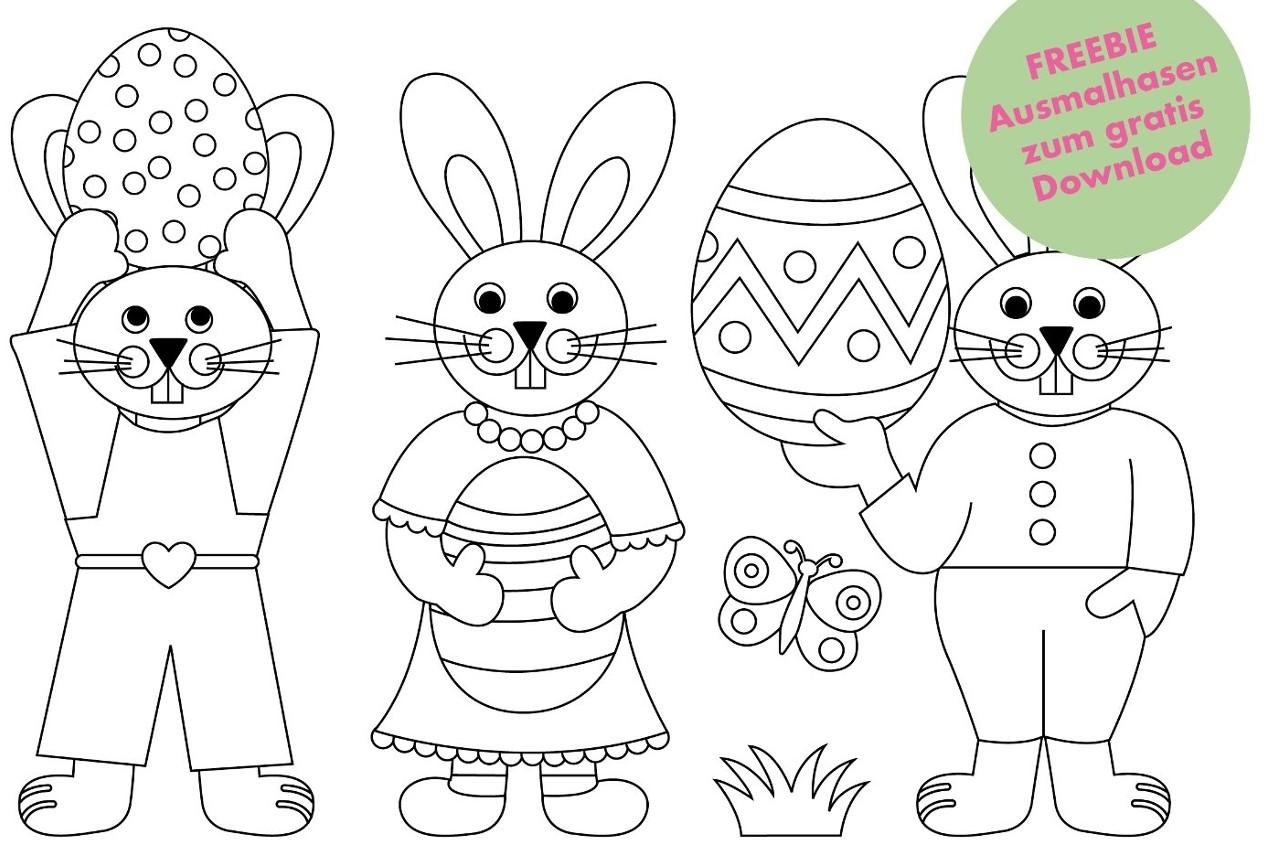 FREEBIE: Süße Osterhäschen zum Ausmalen – GRATIS