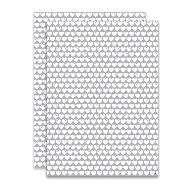 Geschenkpapier Herzen / Grau