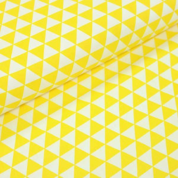 Kombi-Baumwollstoff / Dreiecke gelb
