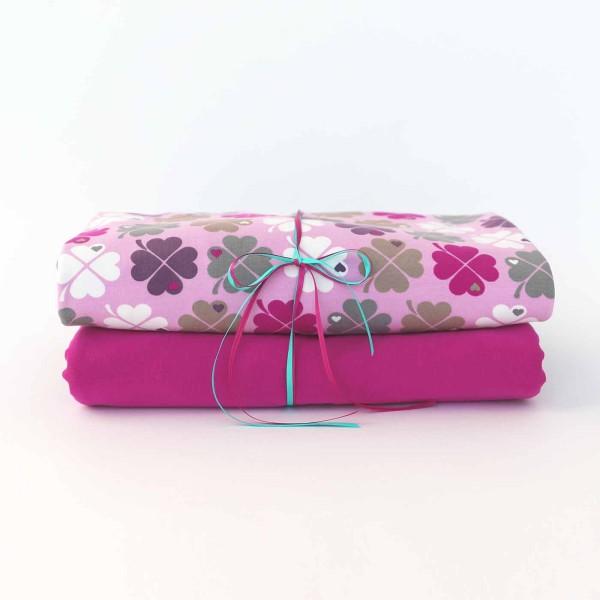 Stoffpaket Klee Pink mit Himbeere
