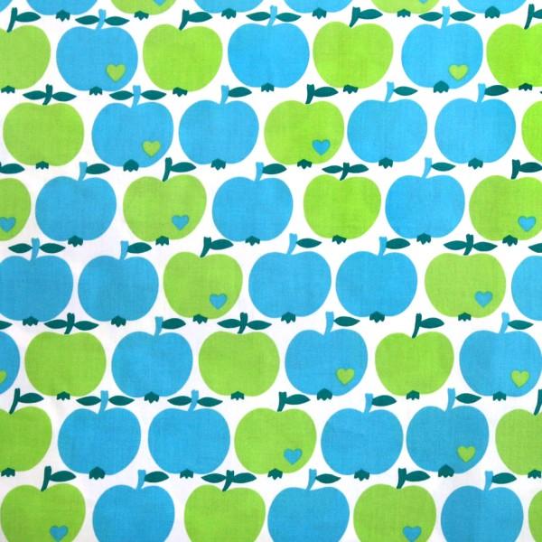 Baumwollstoff Apfel / Blau