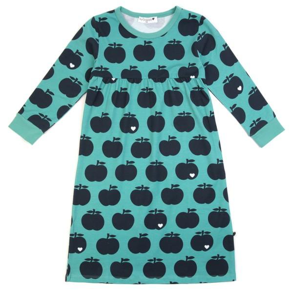 Kindernachthemd Apfel / mint dunkelblau