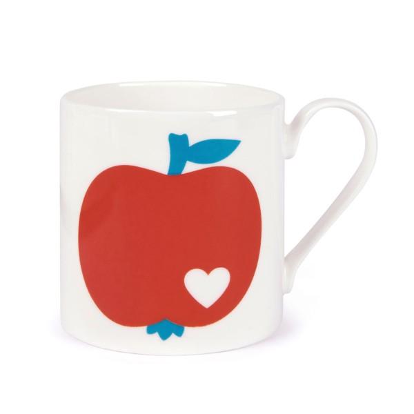 Porzellanbecher Apfel / Rot-Blau
