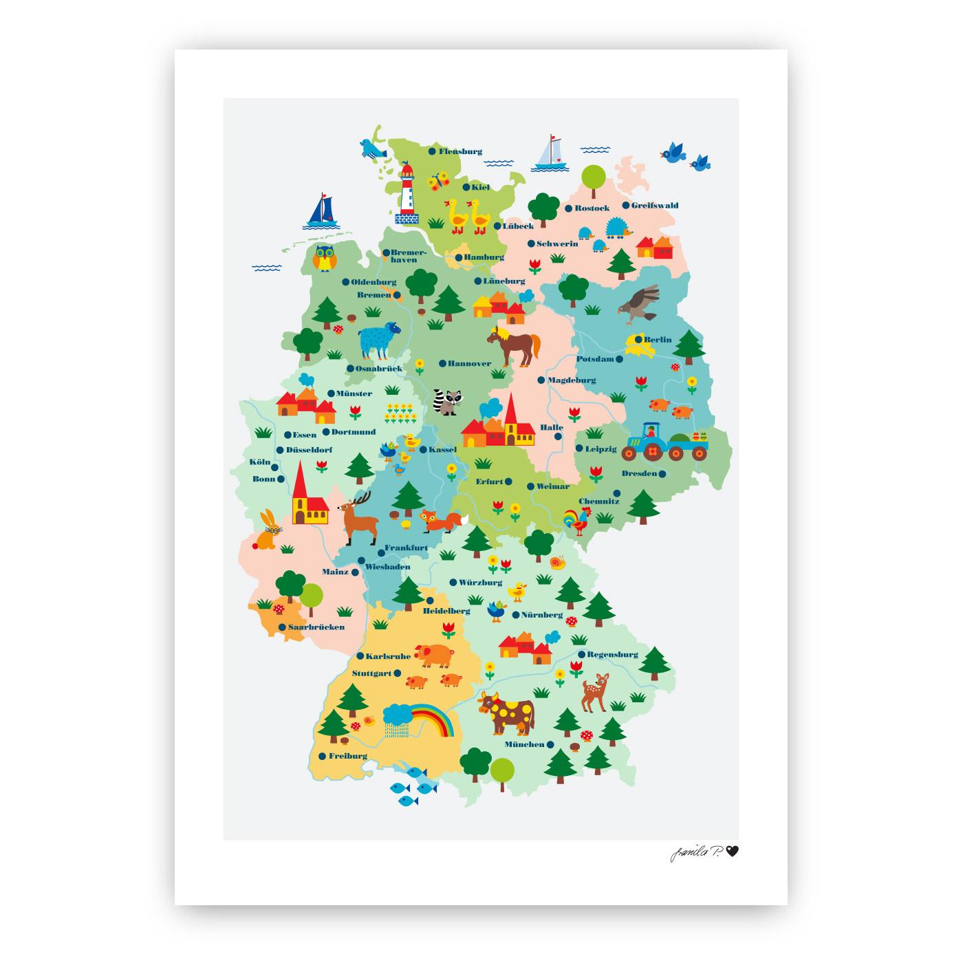 deutschland karte poster Poster Deutschlandkarte für Kinder   byGraziela   byGraziela